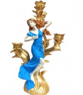 ست شمعدان پلی استر دو عددی طرح فرشته آبی