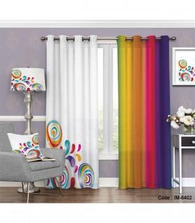 پرده پانچی ساده طرح رنگارنگ