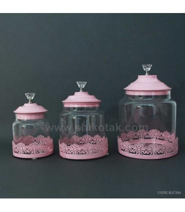 ظرف شکلات شیشه ای طرح الماس صورتی