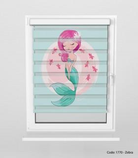 خرید انلاین پرده زبرا اتاق کودک مدل پری دریایی