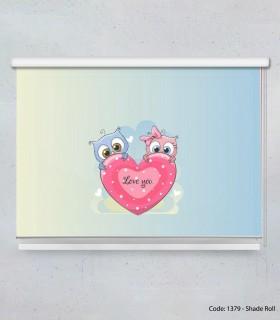 خرید اینترنتی پرده شید بالارو قلبی کودکانه مدل LOVE YOU