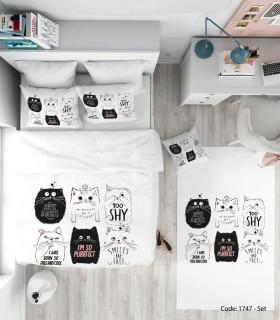 تصویر ست روتختی و ملحفه کودکانه حیوانات مدل CAT