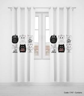 خرید پرده پانچی دو تکه کودکانه حیوانات مدل CAT