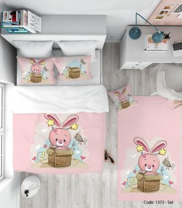 فروش اینترنتی ست روتختی و ملحفه چاپی صورتی مدل خرگوش