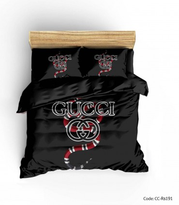 عکس سرویس روتختی و ملحفه و لحاف مدل BLACK GUCCI 2