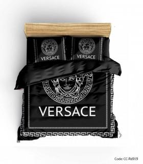 خرید سرویس روتختی و ملحفه کشدار مدل BLACK VERSACE 2