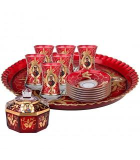 سرویس چای خوری شاه عباسی 14پارچه با طرح های طلایی