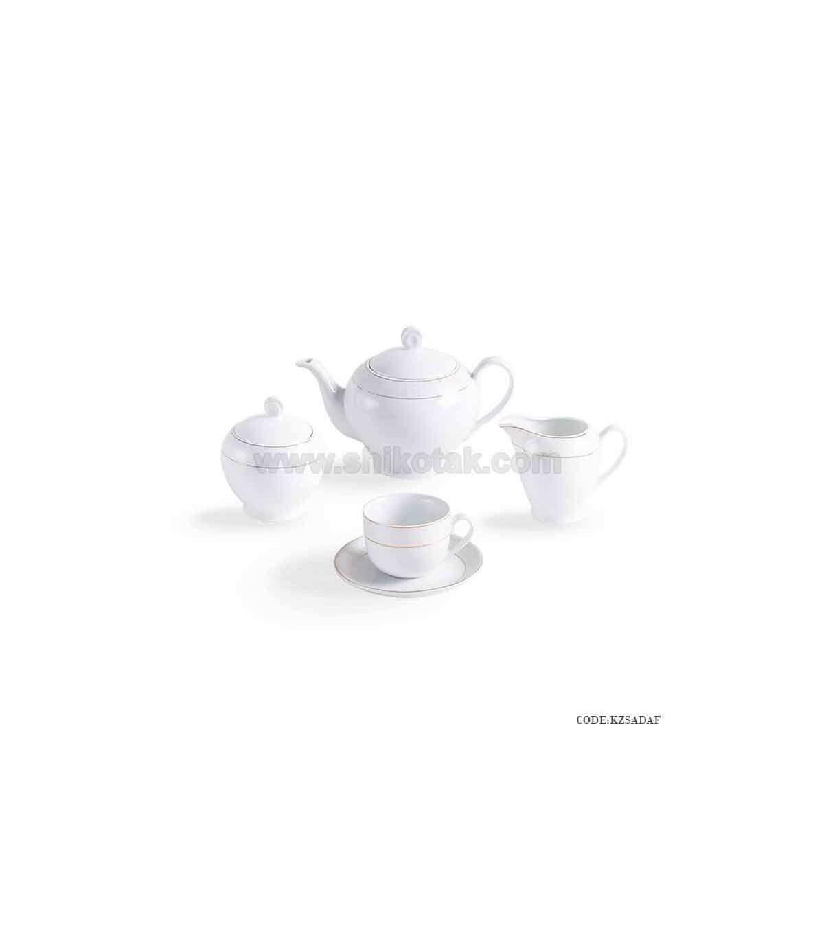 سرویس چایخوری چینی زرین 6 نفره زرین طرح سپید صدف