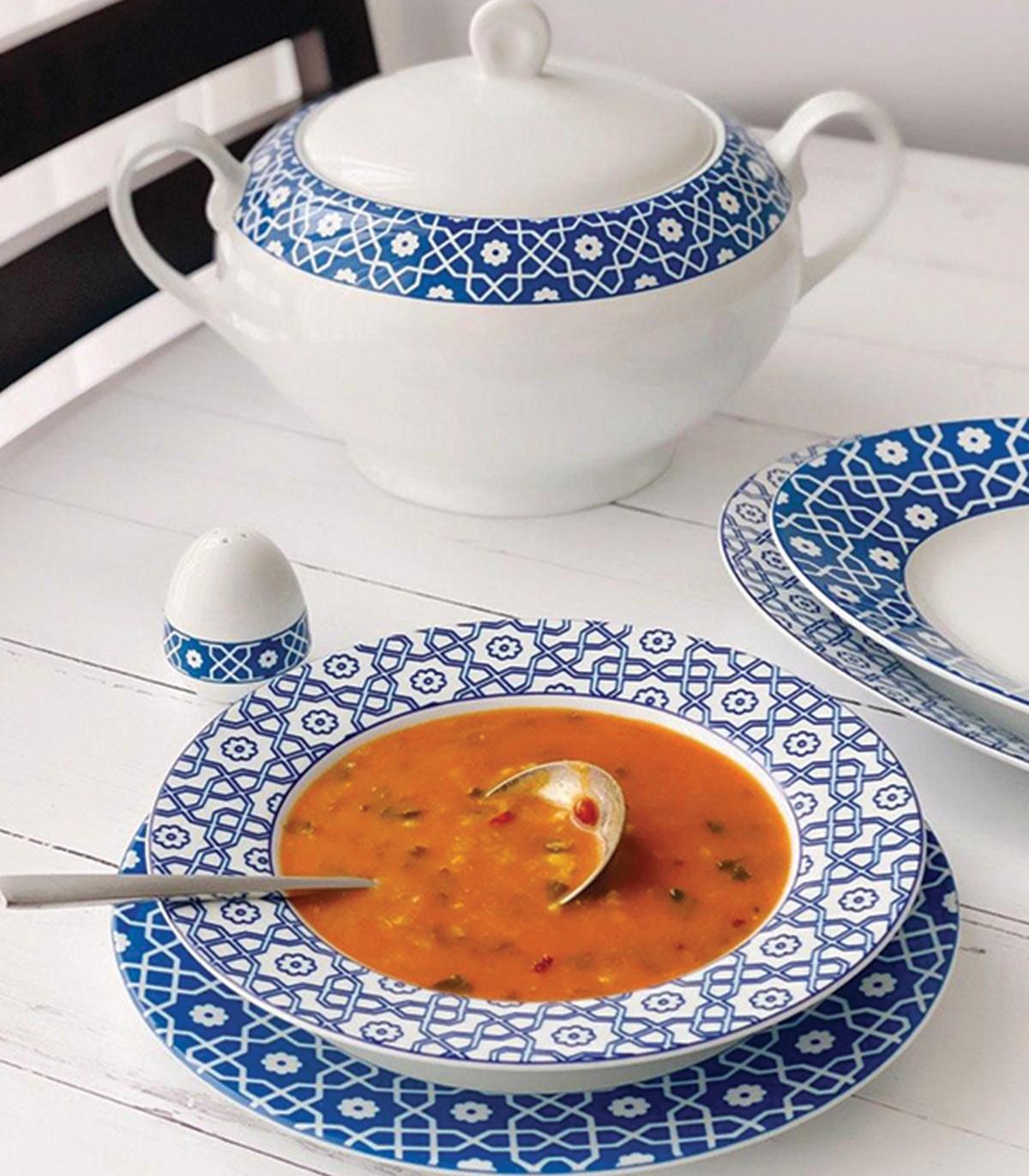 خرید سرویس غذا خوری چینی 28 پارچ 6 نفره مدل میبد سرمه ای سری ایتالیا اف
