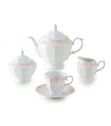 خرید سرویس چای خوری 12 پارچ 6 نفره نئوکلاسیک مدل آواسیس صورتی