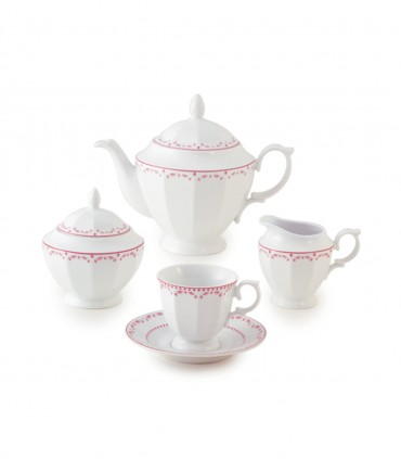 تصویر سرویس چای خوری 12 پارچ 6 نفره نئوکلاسیک مدل فرانسیس صورتی