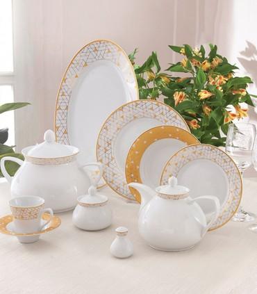 عکس سرویس غذاخوری چینی 12نفره 108 پارچه مدل ژئومتریکال طلایی سری شهرزاد