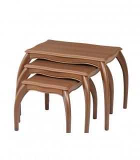 خرید میز عسلی سه عددی کشودار چوبی مدل 0059