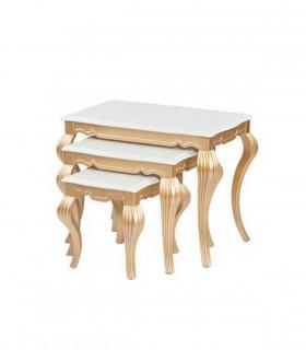 خرید میز عسلی سه عددی چوبی نیولوکس مدل 0064