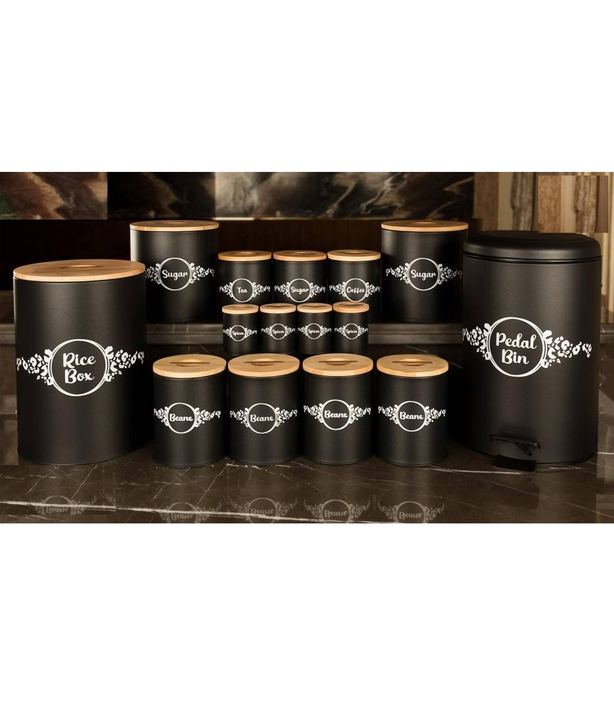 تصویر سرویس آشپزخانه درب چوبی 30 پارچه مشکی مدل PANTHER BLACK