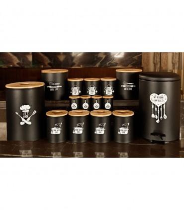 خرید سرویس آشپزخانه درب چوبی 30 پارچه مشکی مدل CHEF BLACK