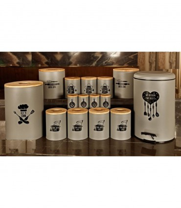 خرید انلاین سرویس آشپزخانه درب چوبی 30 پارچه طوسی مدل CHEF GRAY