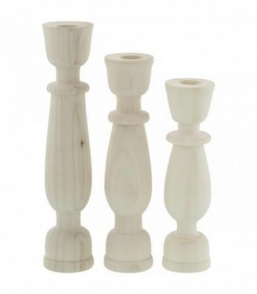 جا شمعی چوبی گژک مدل سیپریسک مجموعه سه عددی سفید