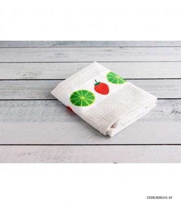 خرید آنلاین دستمال نخی آشپزخانه طرح لیمو و توت فرنگی
