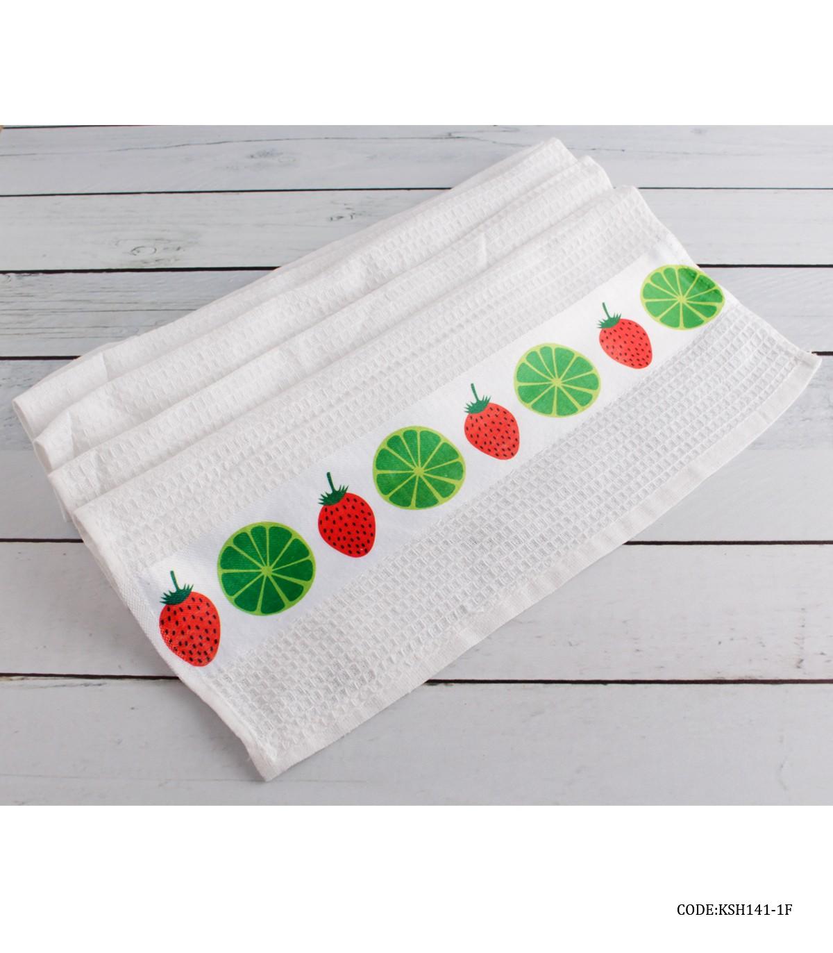 خرید اینترنتی دستمال نخی آشپزخانه طرح لیمو و توت فرنگی