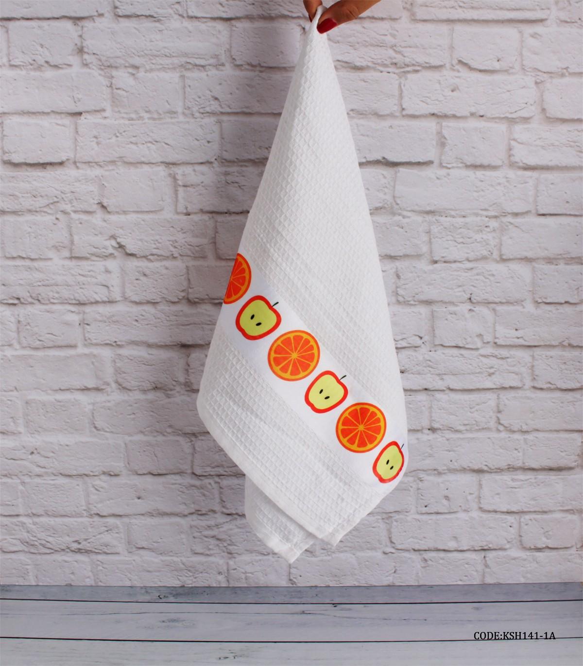 دستمال آشپزخانه عروس طرح سیب و پرتقال