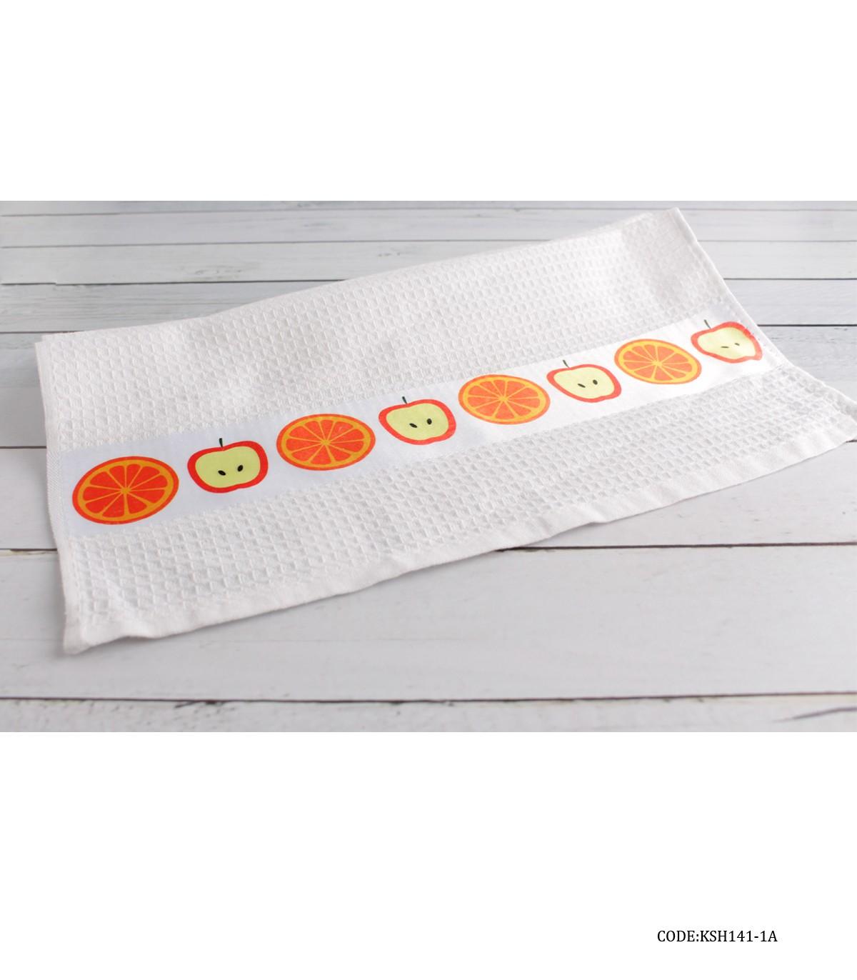 خرید آنلاین دستمال آشپزخانه عروس طرح سیب و پرتقال