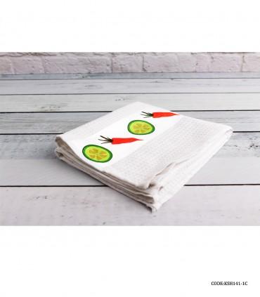 دستمال نخی آشپزخانه طرح هویج و لیمو