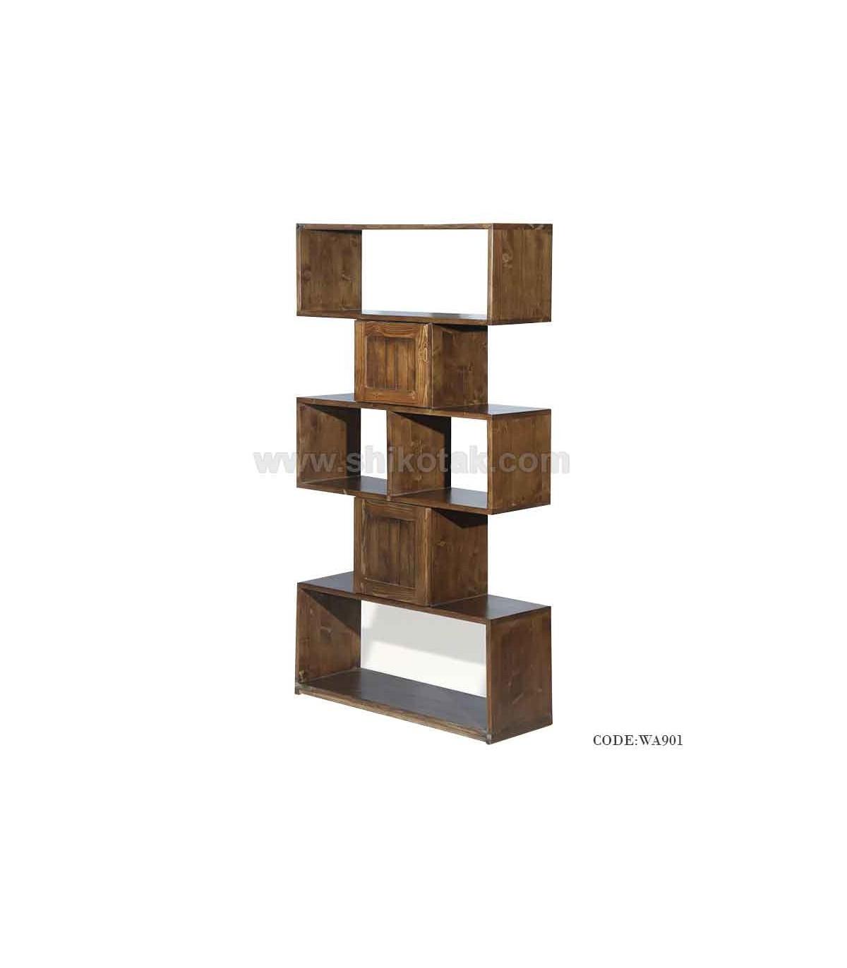 قفسه کتاب چوبی مدل روناک