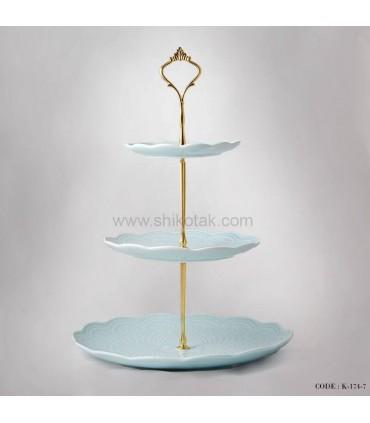 شیرینی خوری سه طبقه طرح دار انگلیش هوم آبی