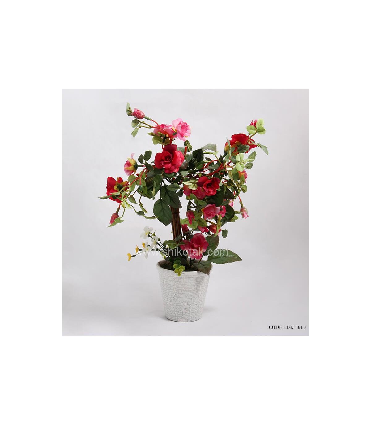 گلدان بوته رز مصنوعی