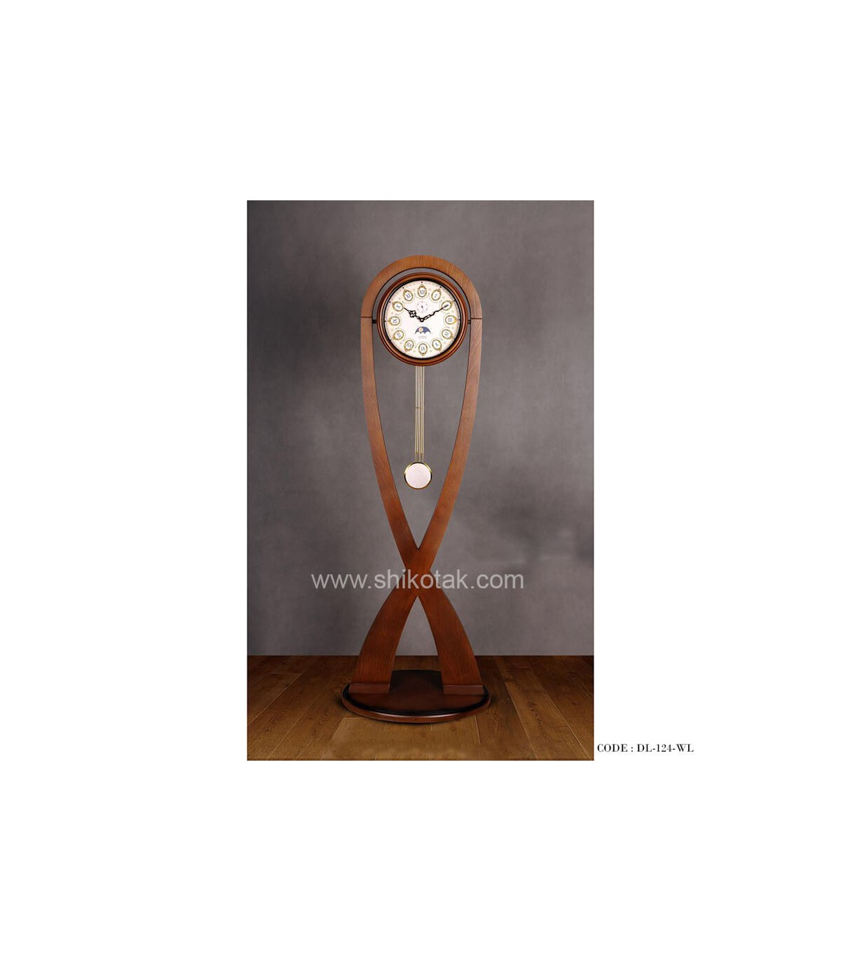 ساعت ایستاده مدرن سری 124فلور قهوه ای