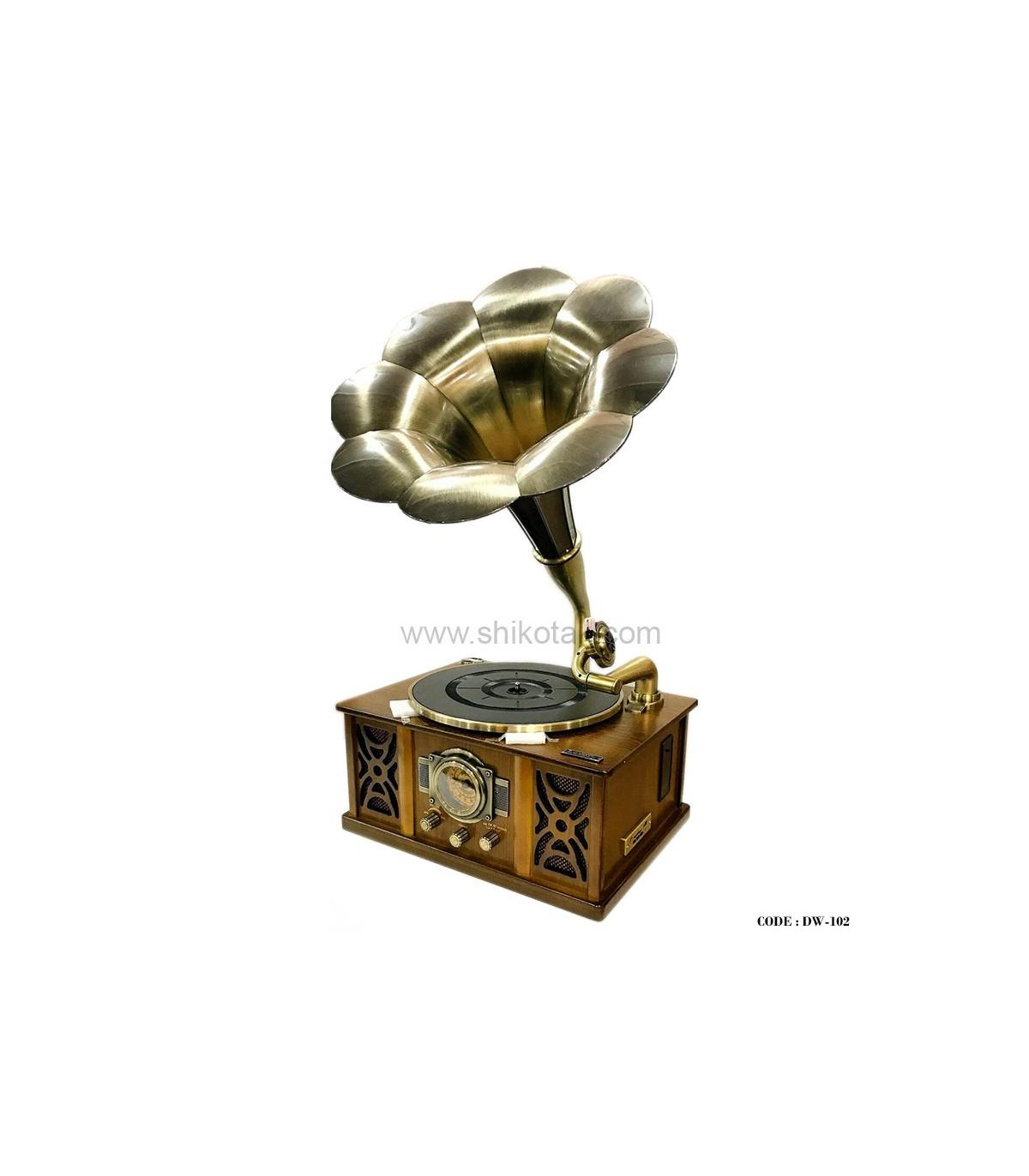 گرامافون رومیزی مدل آدرین رنگ قهوه ای