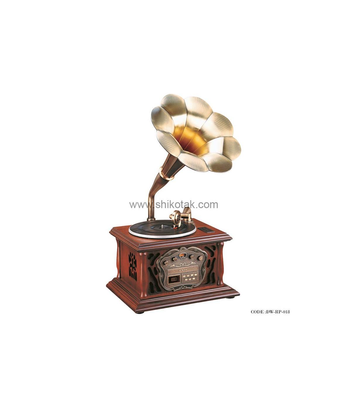 گرامافون رومیزی مدل ماکان قهوه ای روشن