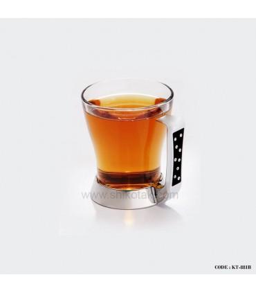 سرویس چای خوری استیل 6 نفره طرح دایموند