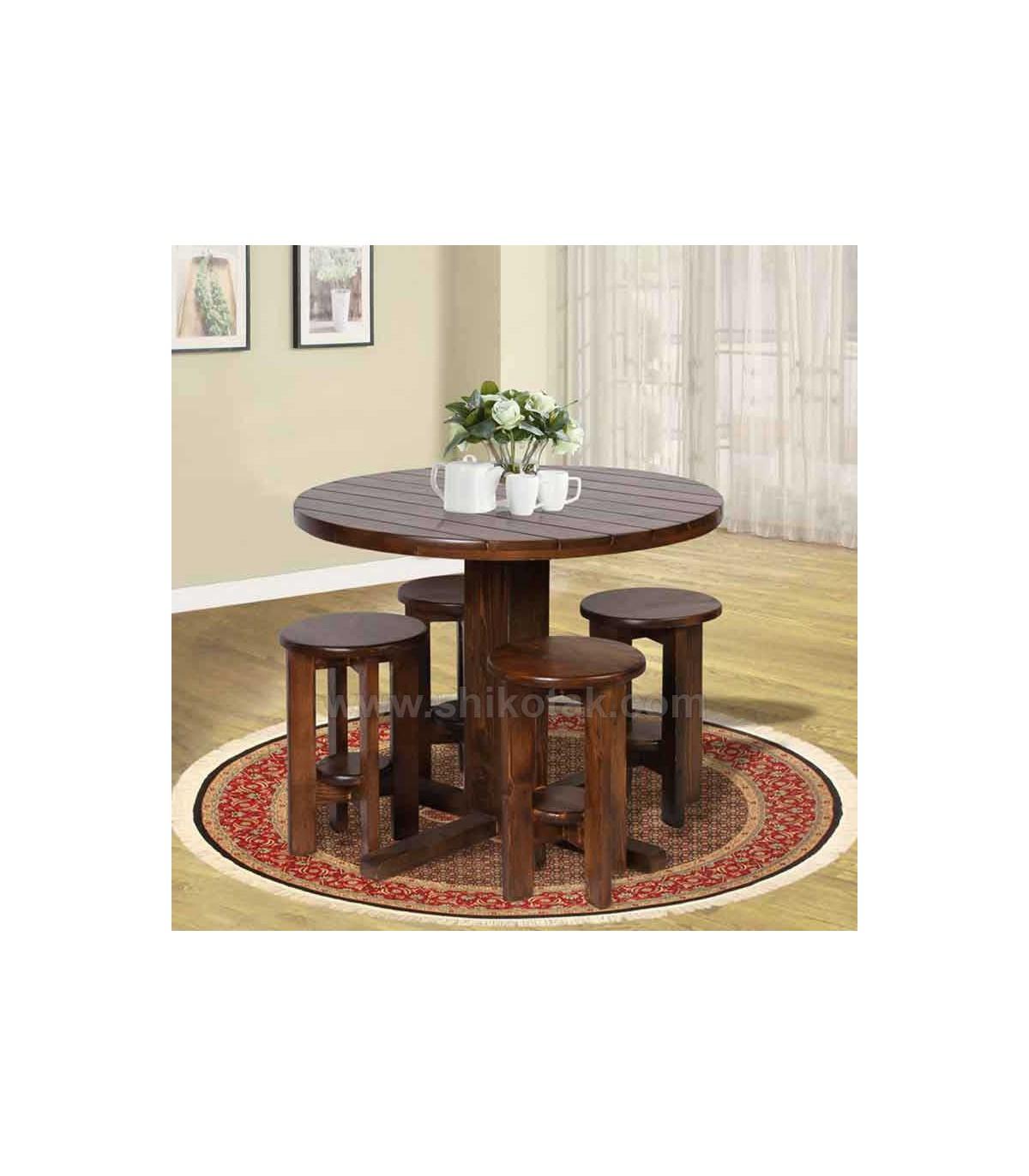 میز ناهار خوری گرد چوبی سری 418