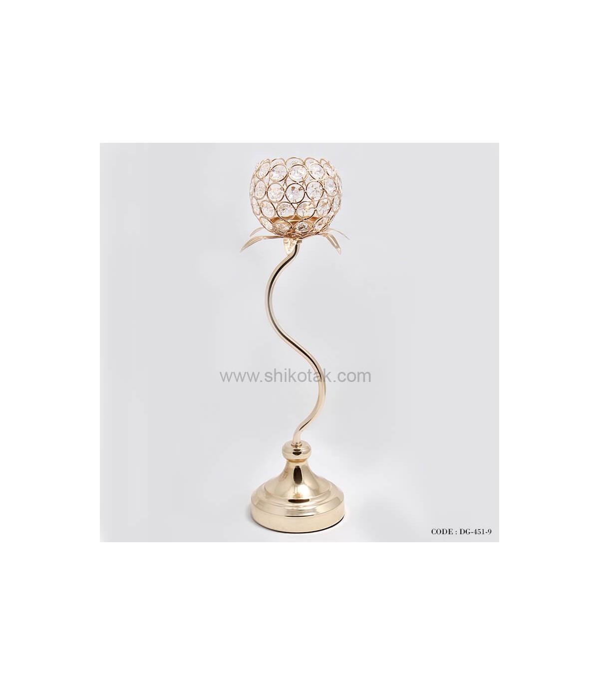 خرید جاشمعی طلایی گلبرگ دار