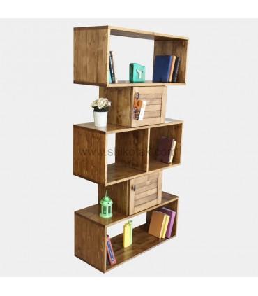 مدل قفسه کتاب چوبی مدل روناک