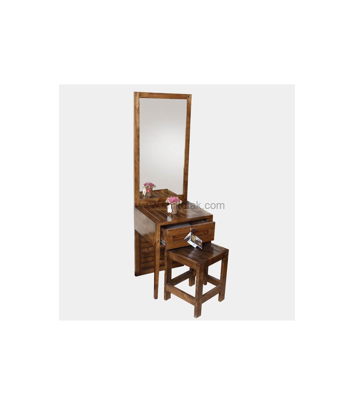 مدل میز آرایش کم جا طرح روژان تمام چوب