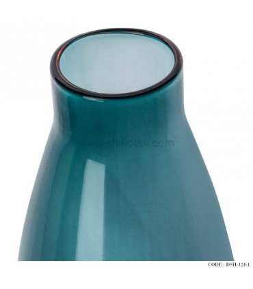 گلدان شیشه ای جدید طرح ایکیا آبی رنگ