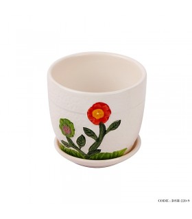 گلدان و زیر گلدانی سرامیکی طرح گل قرمز