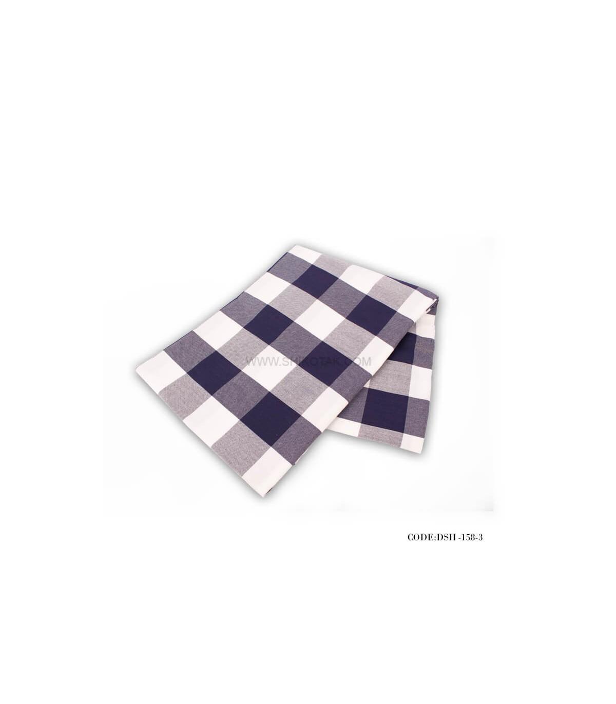 قیمت رومیزی پارچه ای طرح چهارخونه آبی و سفید