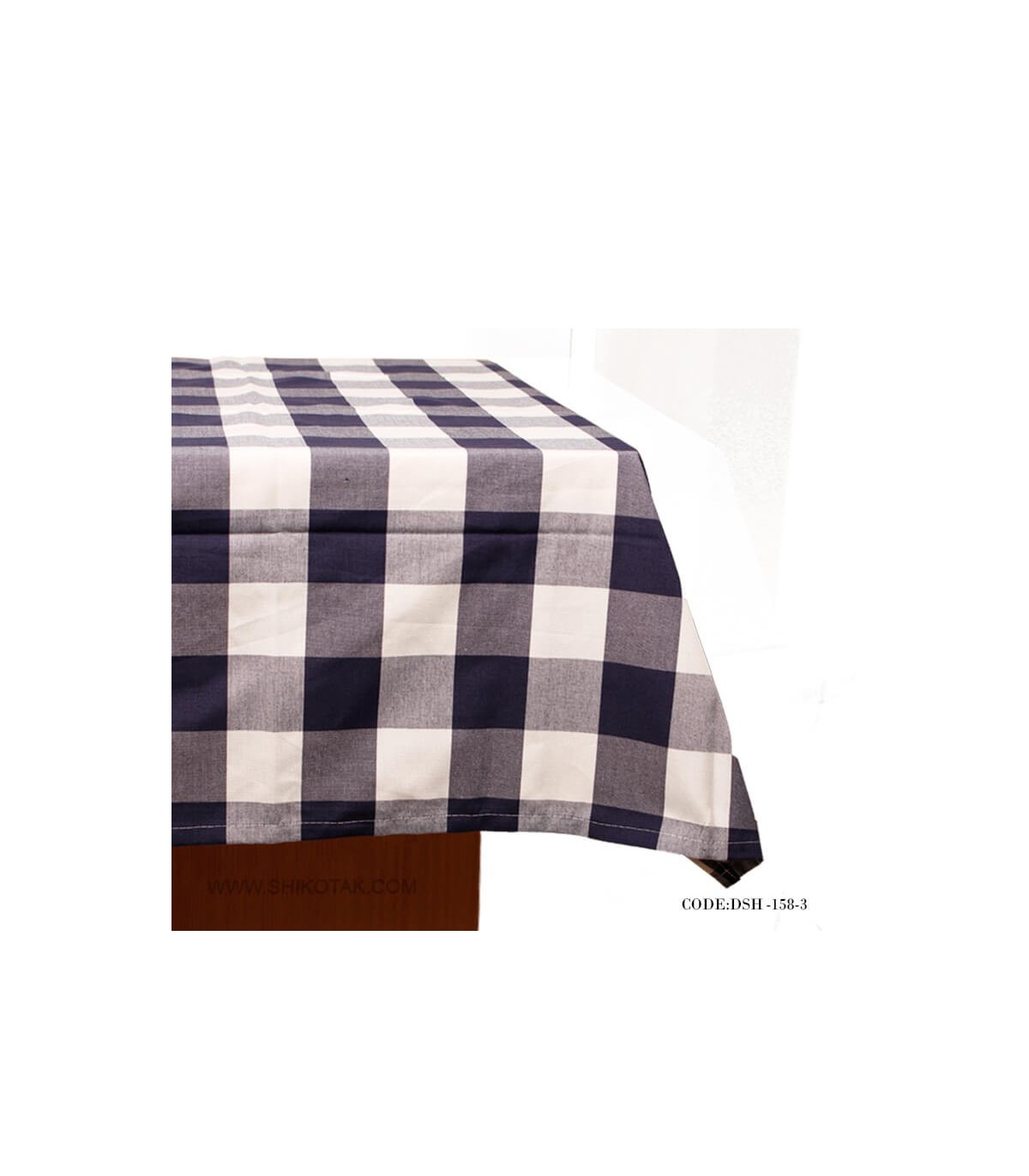 فروش رومیزی پارچه ای طرح چهارخونه آبی و سفید