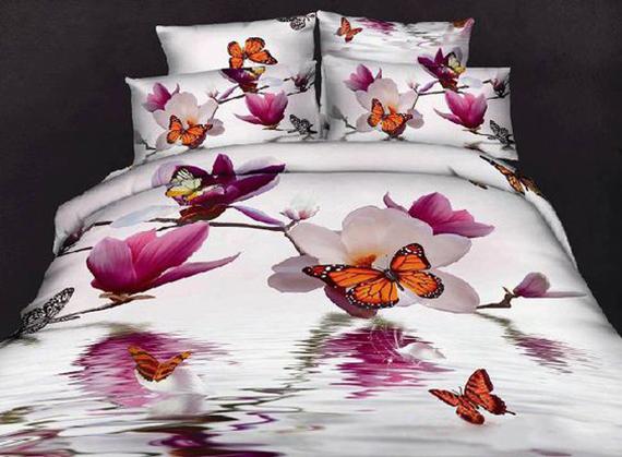روتختی سه بعدی با طرح گل مرداب و پروانه