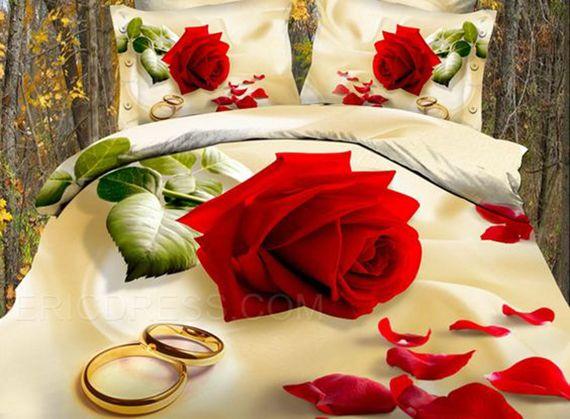 روتختی دیجیتالی طرح گل رز و حلقه ازدواج